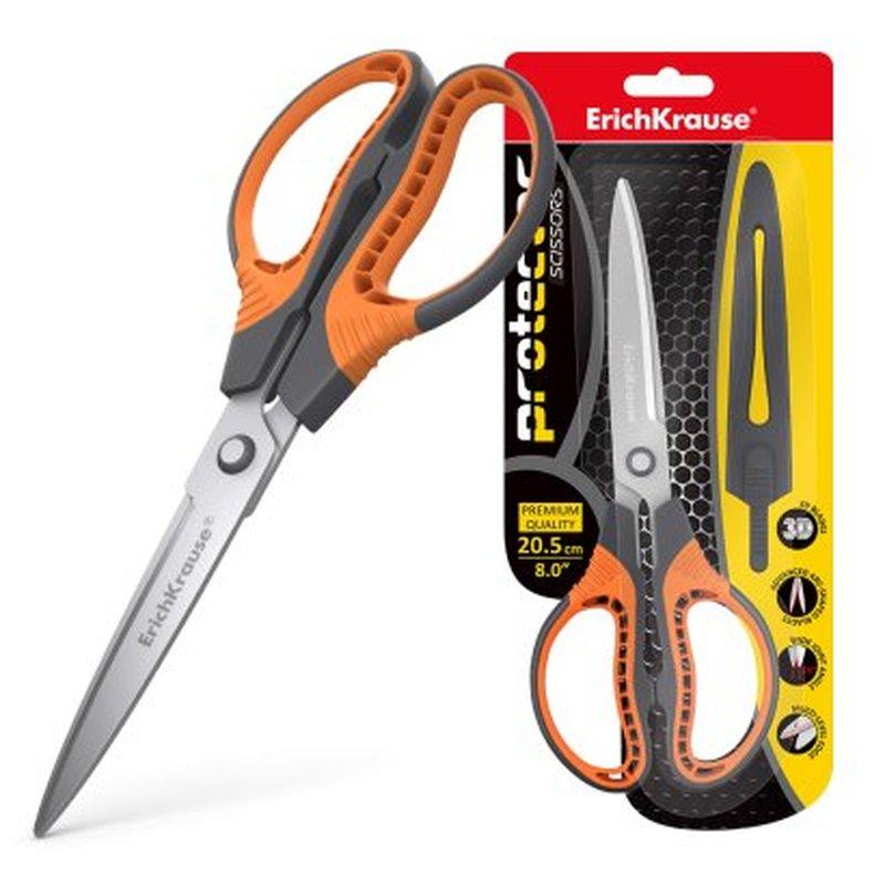 Ножницы ErichKrause® Protector, 20.5см с чехлом, серо-оранжевый (в блистере 1 шт.) 48057