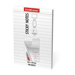 Бумага для заметок с клеевым краем ErichKrause®, 100х150 мм, 100 листов, белый в линейку 48087