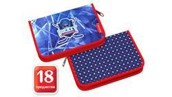 Пенал-книжка с наполнением ErichKrause® 135x205x30мм Hockey 48260