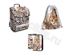Ученический ранец с пластиковым дном ErichKrause® ErgoLine® 16L Wild Cat с наполнением 48283/1