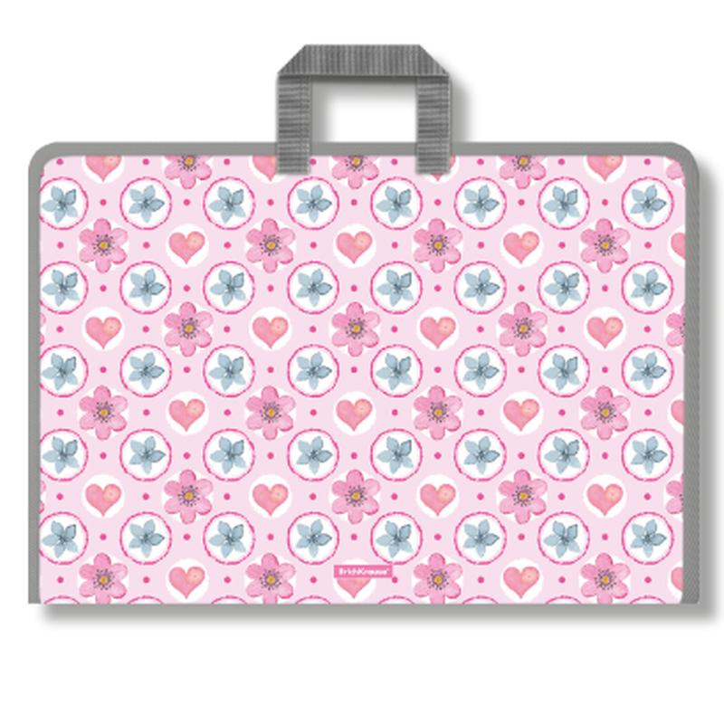 Папка на молнии пластиковая с ручками ErichKrause® Pink Flowers, A3 48328