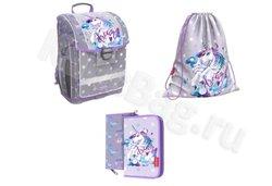 Ученический ранец с пластиковым дном ErichKrause® ErgoLine® 16L Dream Unicorn с наполнением 48457/1
