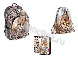 Ученический рюкзак ErichKrause® ErgoLine® 15L Wild Cat с наполнением 48459/1