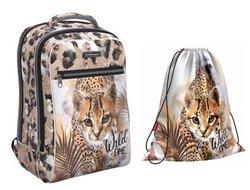 Ученический рюкзак ErichKrause® ErgoLine® Urban 18L Wild Cat  с наполнением 48504/1