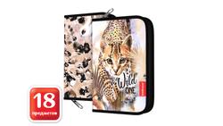 Пенал-книжка с наполнением ErichKrause® 135x205x30мм Wild Cat 48590