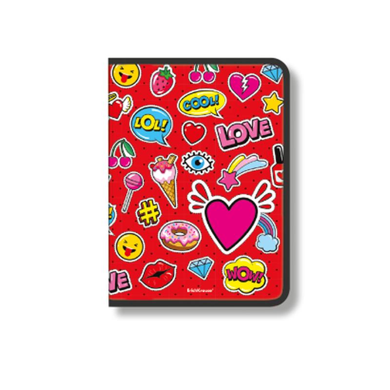Папка для тетрадей на молнии пластиковая ErichKrause® Sweet Love, A4 (в пакете по 4 шт.) 48690