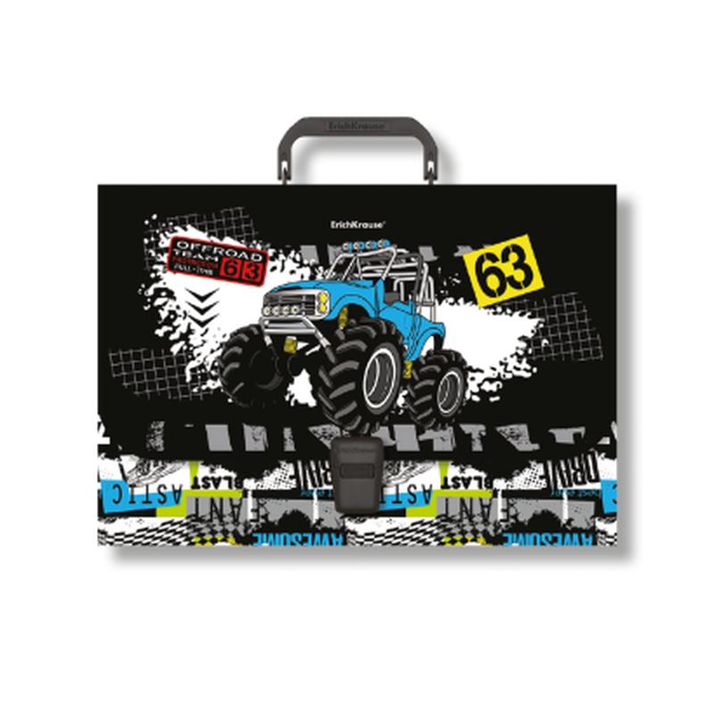 Портфель пластиковый ErichKrause® Track Car, A4 (в пакете по  1шт.) 48736
