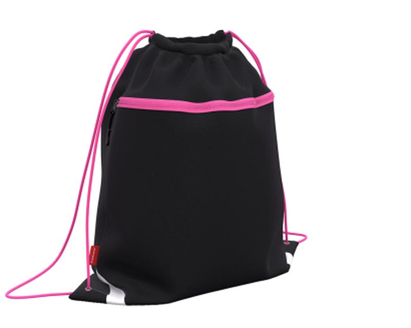 Мешок для обуви ErichKrause® с карманом на молнии 500х410мм Black&Pink 49112