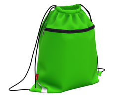 Мешок для обуви ErichKrause® с карманом на молнии 500х410мм Neon Green 49114
