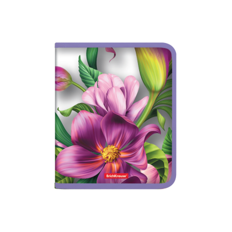 Папка для тетрадей на молнии пластиковая  ErichKrause® Tropical Flowers, A5+  49347