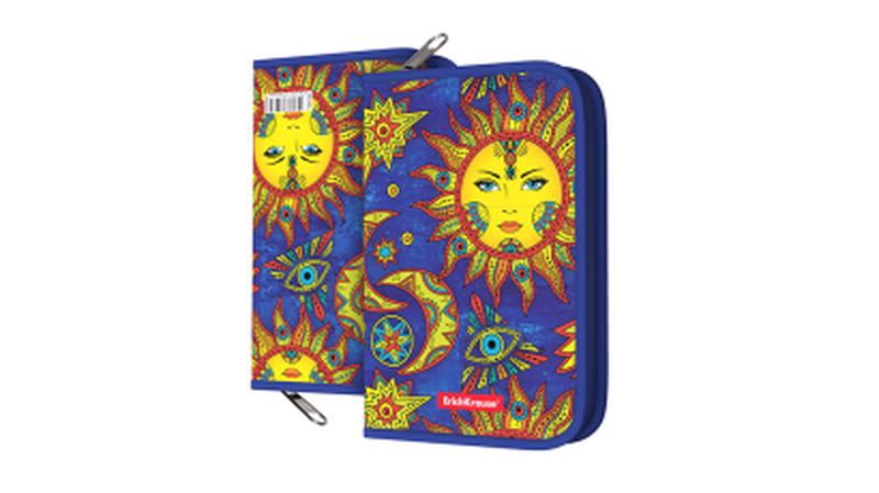 Пластиковый пенал-книжка без наполнения ErichKrause® 135x205x30мм Art Sun 49386