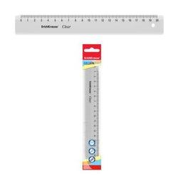 Линейка пластиковая ErichKrause® Clear, 20см, прозрачный, в флоупаке 49498