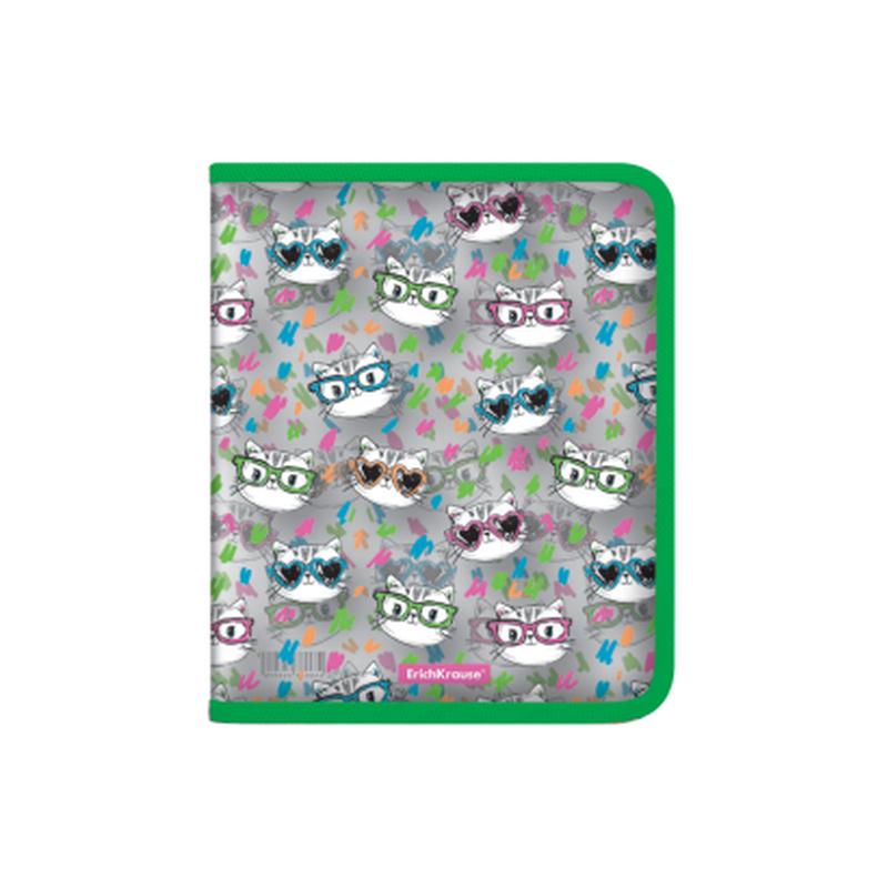 Папка для тетрадей на молнии пластиковая  ErichKrause® Neon Cats, A5+ 49518