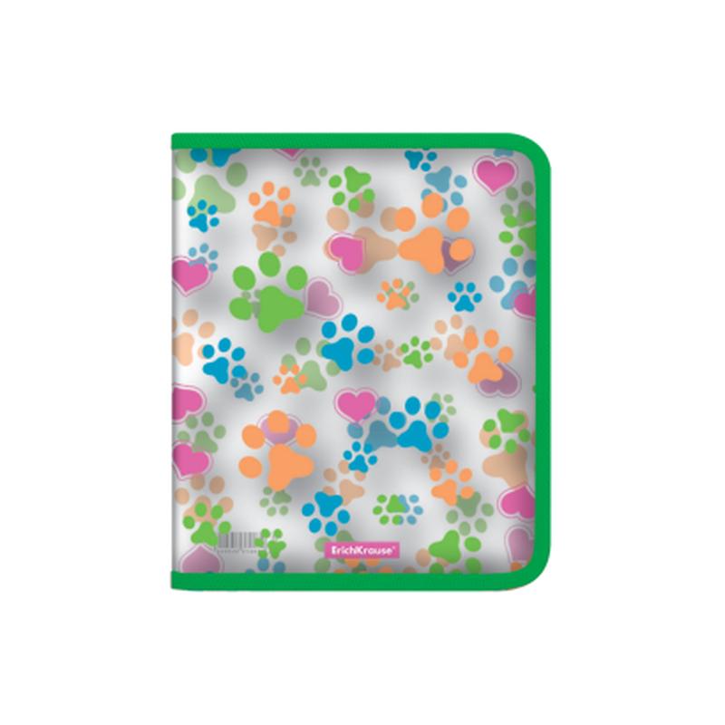 Папка для тетрадей на молнии пластиковая  ErichKrause® Neon Paws, A5+ 49519