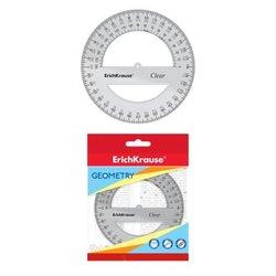 Транспортир пластиковый ErichKrause® Clear, 360°/12 см, прозрачный, в флоупаке 49554