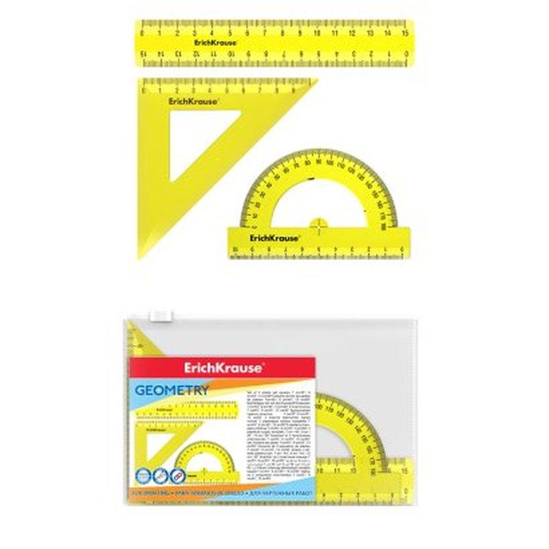 Набор геометрический малый ErichKrause® Neon (линейка 15см, угольник 9см/45°, транспортир 180°/10см), желтый, в zip-пакете 49559