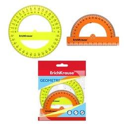 Набор из 2 транспортиров пластиковых ErichKrause® Neon; 180°/10см, оранжевый; 360°/12 см, желтый; в флоупаке 49560