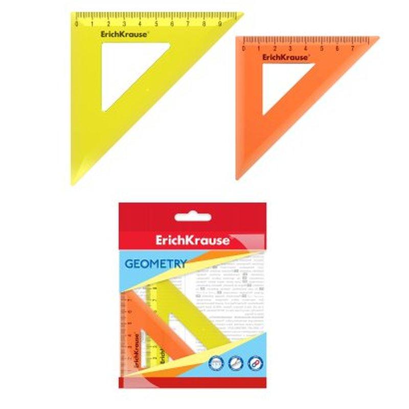 Набор из 2 угольников пластиковых ErichKrause® Neon; 7см/45°, оранжевый; 9см/45°, желтый; в флоупаке 49561