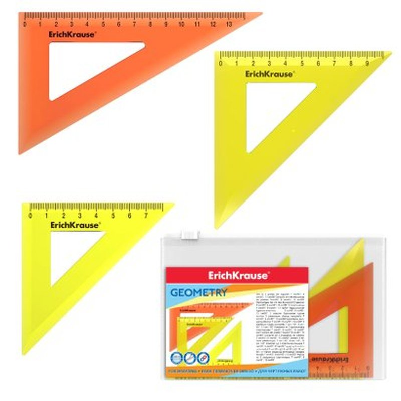 Набор из 3 угольников пластиковых ErichKrause® Neon; 7см/45°, желтый; 9см/45°, желтый; 13см/60°, оранжевый; в zip-пакете 49562