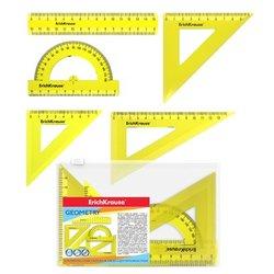 Набор геометрический малый ErichKrause® Neon (линейка 15см, угольники 7см и 9см, угольник 13см, транспортир 180°/10см), желтый, в zip-пакете 49563