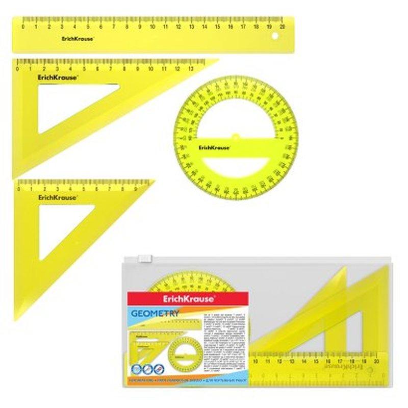 Набор геометрический средний ErichKrause® Neon (линейка 20см, угольники 13см/60° и 9см/45°, транспортир 360°/12 см), желтый, в zip-пакете 49570
