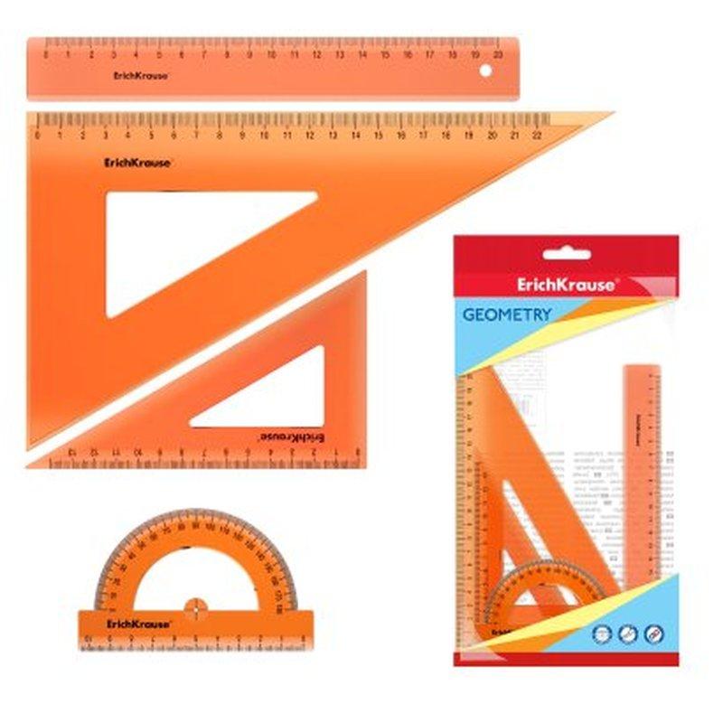 Набор геометрический средний ErichKrause® Neon (линейка 20 см, угольники 13см/60° и 22см/60°, транспортир 180°/10 см), оранжевый, в флоупаке 49571