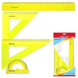 Набор геометрический большой ErichKrause® Neon (линейка 30см, угольники 16см/45° и 22см/60°, транспортир 180°/10 см), желтый, в флоупаке 49572