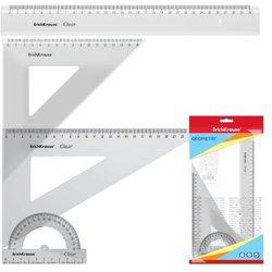 Набор геометрический большой ErichKrause® Clear (линейка 30см, угольники 16см и 22см, транспортир 180°/10 см), прозрачный, в флоупаке 49573