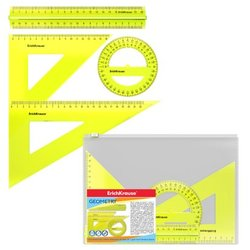 Набор геометрический большой ErichKrause® Neon (линейка с держателем 20см, угольники 16см и 22см, транспортир 360°), желтый, в zip-пакете 49574