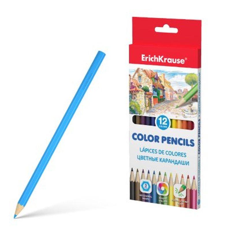 Цветные карандаши шестигранные ErichKrause® 12 цветов 49882