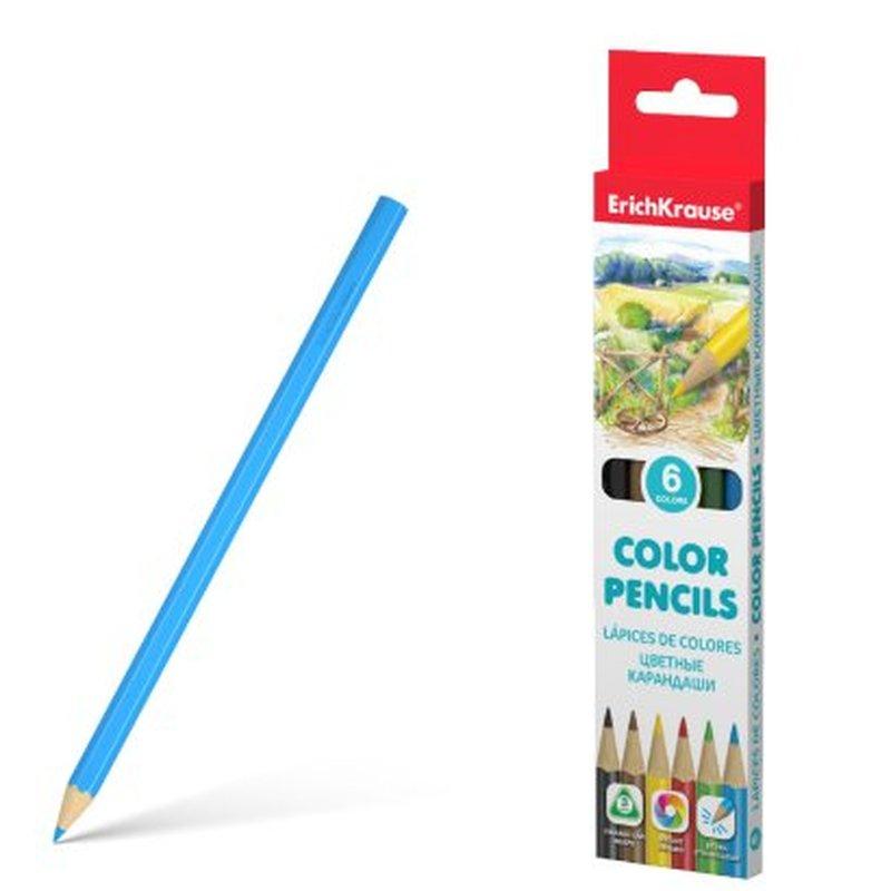 Цветные карандаши трехгранные ErichKrause®  6 цветов 49885
