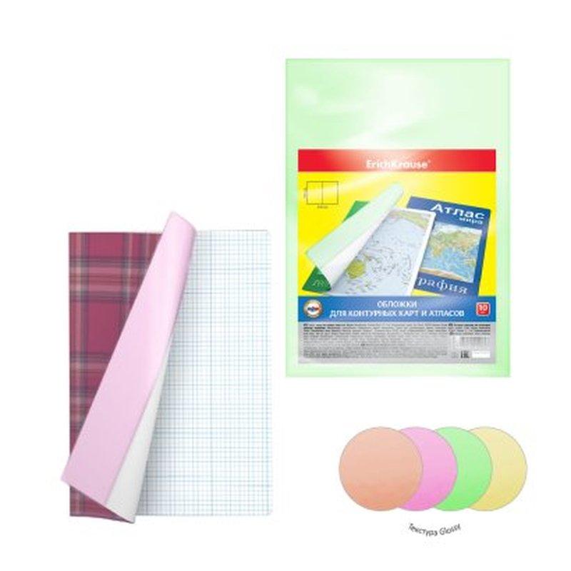 Набор пластиковых обложек ErichKrause® Glossy Neon для контурных карт, атласов и тетрадей А4, ПВХ, 306х426мм, 150 мкм (пакет 12 шт.) 49920