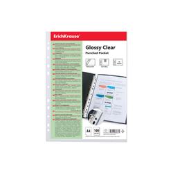 Набор перфофайлов пластиковых ErichKrause® Glossy Clear, 100 мкм, A4, прозрачный (в пакете по 100 шт.) 49922