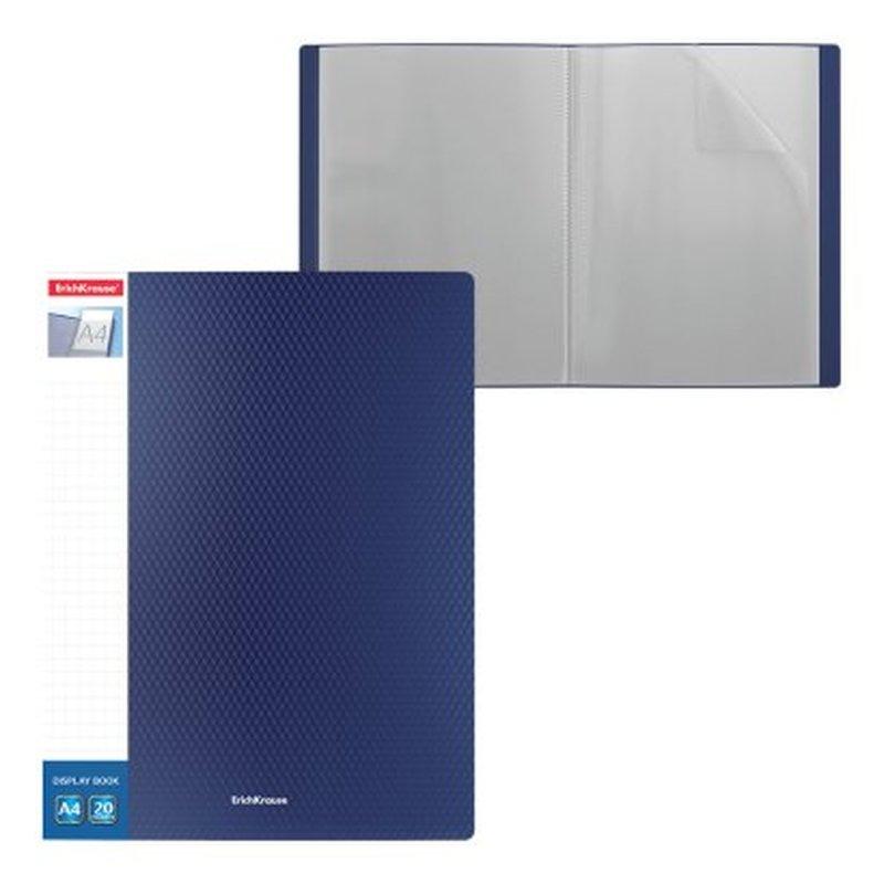 Папка файловая пластиковая с карманом на корешке ErichKrause® Diamond Original, c 20 карманами, A4, синий 49944