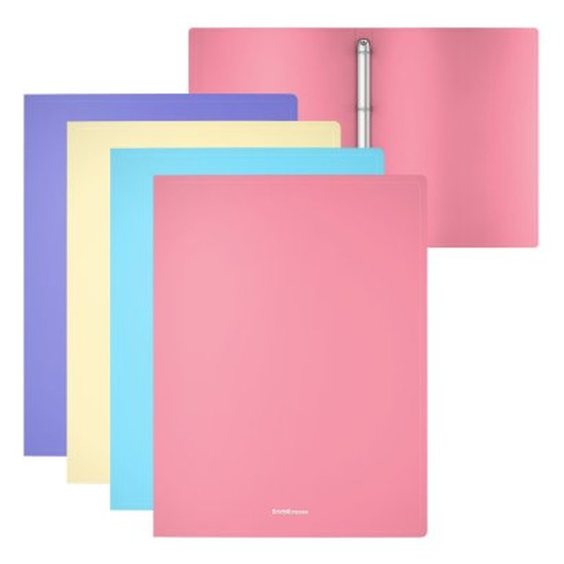 Папка на 4 кольцах пластиковая  ErichKrause® Matt Pastel, 24мм, A4, ассорти 49978