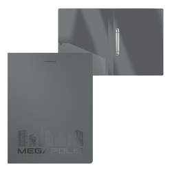 Папка на 2 кольцах пластиковая  ErichKrause® MEGAPOLIS, 24 мм, А4, серый 49980