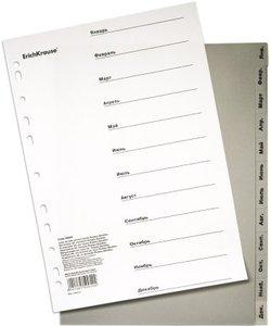 Разделитель листов пластиковый ErichKrause® 12 листов, по месяцам (январь-декабрь), A4 50054