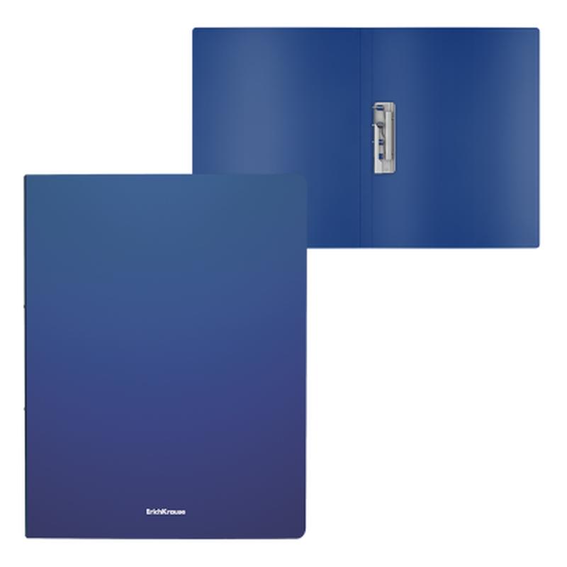 Папка с боковым зажимом пластиковая ErichKrause® Matt Classic, A4, синий 50135