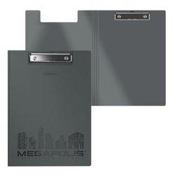 Папка-планшет пластиковая ErichKrause® MEGAPOLIS, A4, серый 50144