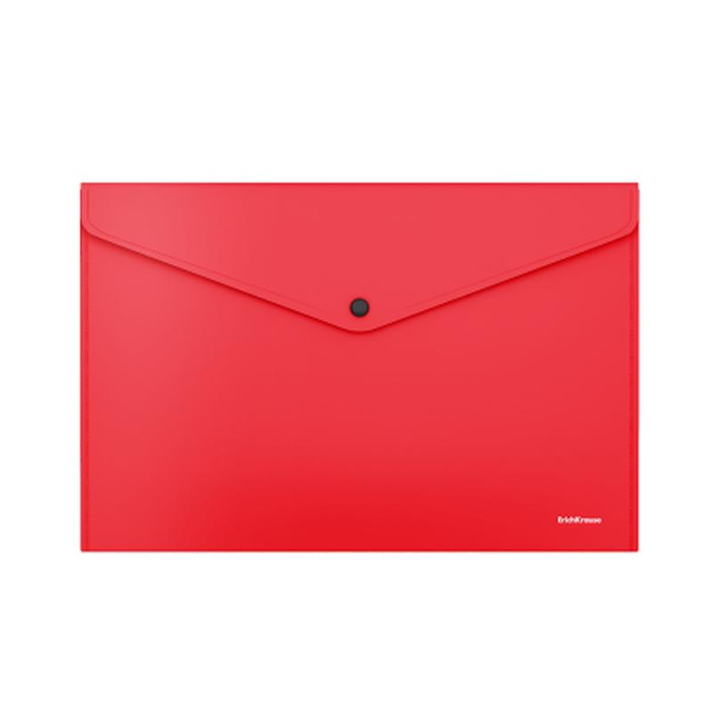 Папка-конверт на кнопке пластиковая  ErichKrause® Fizzy Classic, непрозрачная, A4, красный 50175
