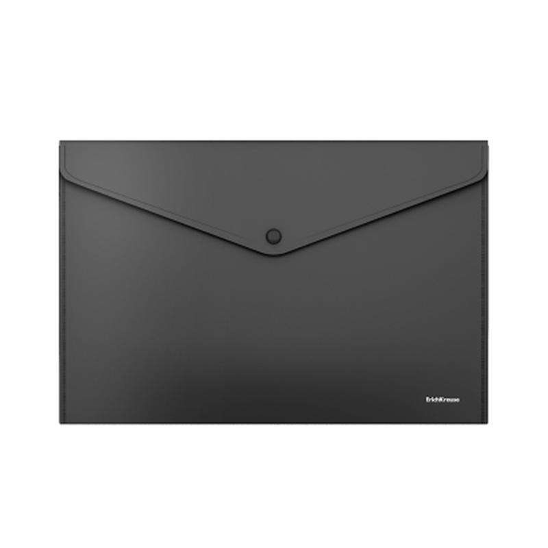 Папка-конверт на кнопке пластиковая  ErichKrause® Fizzy Classic, непрозрачная, А4, черный 50176