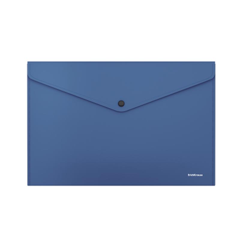 Папка-конверт на кнопке пластиковая  ErichKrause® Fizzy Classic, непрозрачная, А4, синий 50177