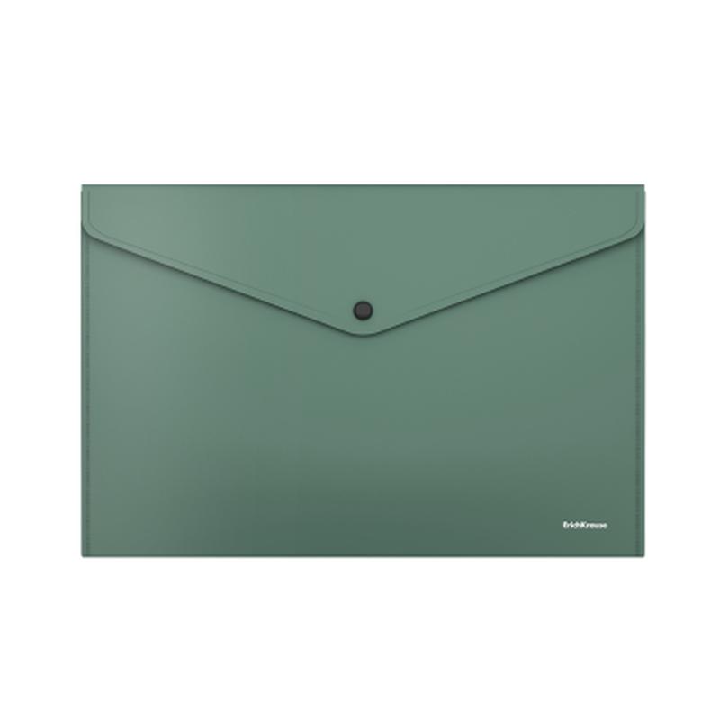 Папка-конверт на кнопке пластиковая  ErichKrause® Fizzy Classic, непрозрачная, А4, зеленый 50178