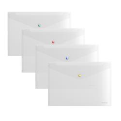 Папка-конверт на кнопке пластиковая  ErichKrause® Glossy Clear с цветной кнопкой, A4, прозрачный 50205