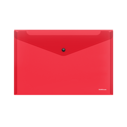 Папка-конверт на кнопке пластиковая  ErichKrause® Glossy Classic, полупрозрачная, A4, красный 50257