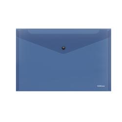 Папка-конверт на кнопке пластиковая  ErichKrause® Glossy Classic, полупрозрачная, A4, синий 50260