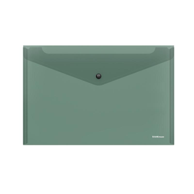 Папка-конверт на кнопке пластиковая  ErichKrause® Glossy Classic, полупрозрачная, A4, зеленый 50288