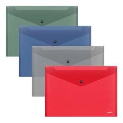 Папка-конверт на кнопке пластиковая  ErichKrause® Glossy Classic, полупрозрачная, B5, ассорти 50291