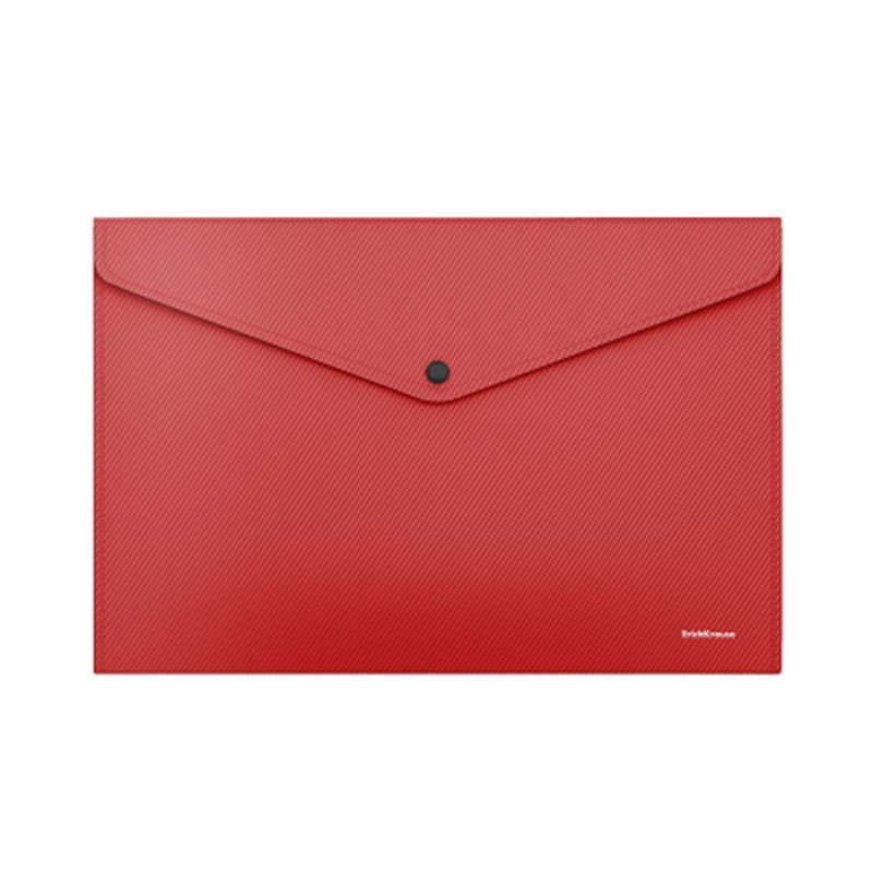 Папка-конверт на кнопке пластиковая  ErichKrause® Diagonal Classic, непрозрачная, A4, красный 50292