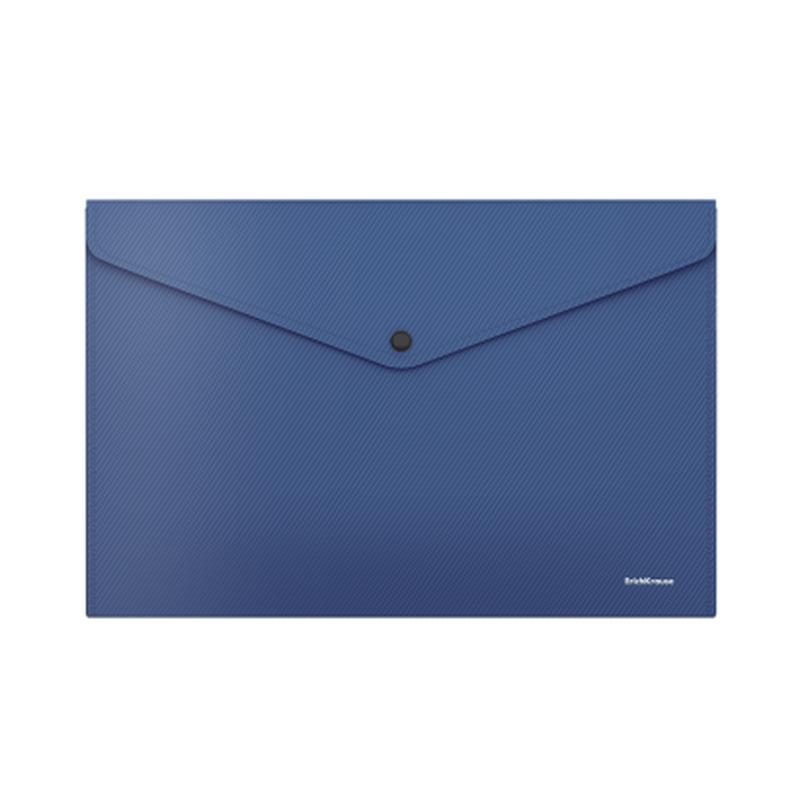 Папка-конверт на кнопке пластиковая  ErichKrause® Diagonal Classic, непрозрачная, A4, синий 50293